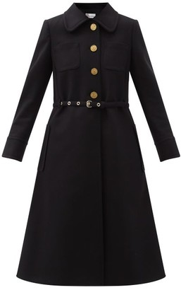 RED Valentino Belted Felted Wool-blend Coat - Black