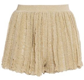 Missoni Pleated Metallic Crochet-knit Shorts