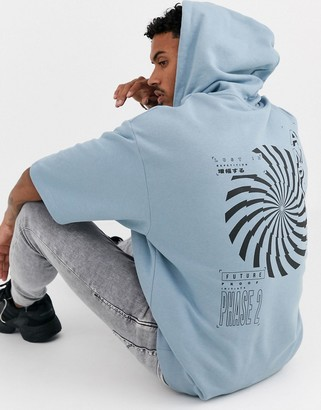 Asos Design DESIGN short sleeve oversized hoodie in blue with amplify back print