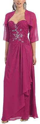 Mayqueen MayQueen Women's Special Occasion Dresses Magenta - Magenta Strapless Gown & Shrug - Women