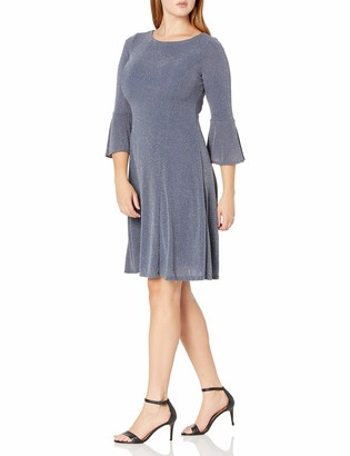 Jessica Howard JessicaHoward Women's 3/4 Sleeve Fit and Flare Glitter Knit Dress