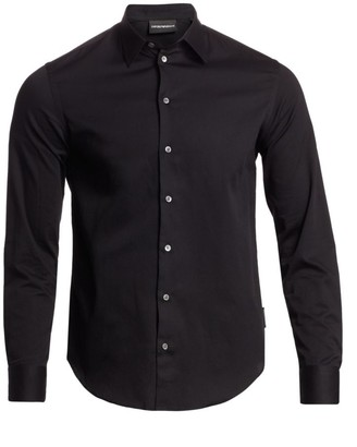 Emporio Armani Solid Jacquard Woven Shirt