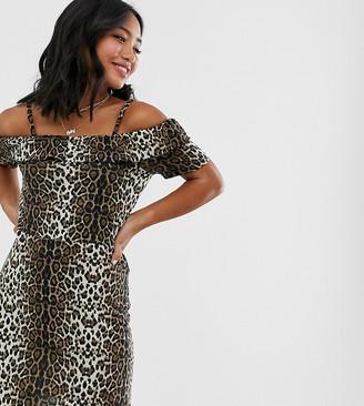 Vero Moda Petite leopard print bardot dress