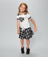 Dollie & Me Black & White Plaid Skirt Set & Doll Outfit - Girls