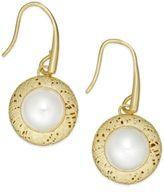 Macy's Cultured Freshwater Pearl Drop Earrings in 18k Gold over Sterling Silver (8mm)