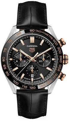 Tag Heuer Carrera 44MM Stainless Steel, Ceramic & Alligator Strap Automatic Tachymeter Date Chronograph Watch