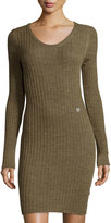 See by Chloe Ribbed Long-Sleeve Sweaterdress, Brown