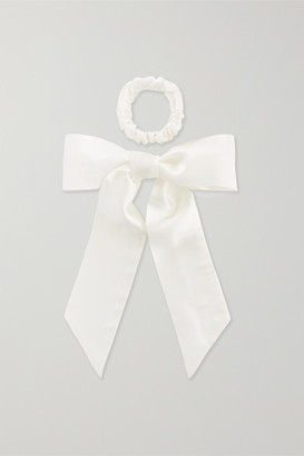 Slip Silk Ribbon And Hair Tie Set - White