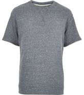 River Island MensBlue loopback short sleeve sweatshirt