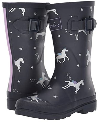 Joules Kids Printed Welly Rain Boot (Toddler/Little Kid/Big Kid) (Navy Floral Stripe) Girls Shoes