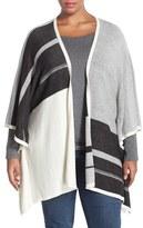 NYDJ Plus Size Women's Stripe Poncho Style Cardigan