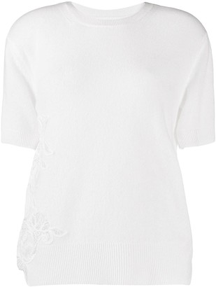 Ermanno Scervino Short-Sleeve Lace Applique Jumper