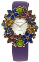 """Heidi Daus Fantasy in Florals"""" Leather Strap Watch"""