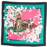Dolce & Gabbana Women's Floral Cat Print Silk Scarf
