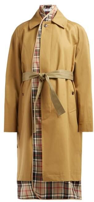 Balenciaga Check-lined Cotton-twill Trench Coat - Womens - Beige Multi