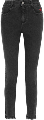 Stella McCartney Frayed Embroidered Mid-rise Skinny Jeans