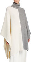 Co Two-Tone Wool-Cashmere Draped Poncho