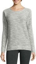 Liz Claiborne Long-Sleeve Blocked-Texture Sweatshirt