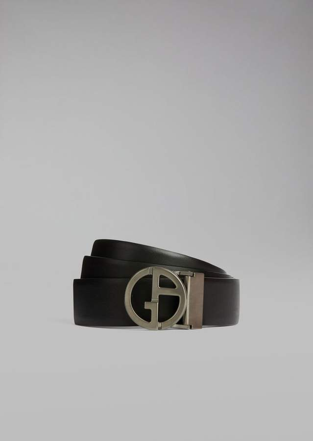 Giorgio Armani Smooth Leather Belt With Removable And Detachable Buckle