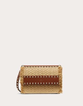 Valentino Small Rockstud Raffia Crossbody Bag Women Beige Calfskin 100% OneSize