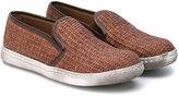 Pépé woven slip-on trainers - kids - Leather/Straw/rubber - 27