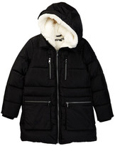 Steve Madden Fashion Long Bubble Jacket with Faux Fur Hood (Big Girls)