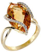Effy 14 Kt Gold Diamond Accented Citrine Ring