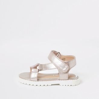 River Island Mini girls Pink velcro strap sandals