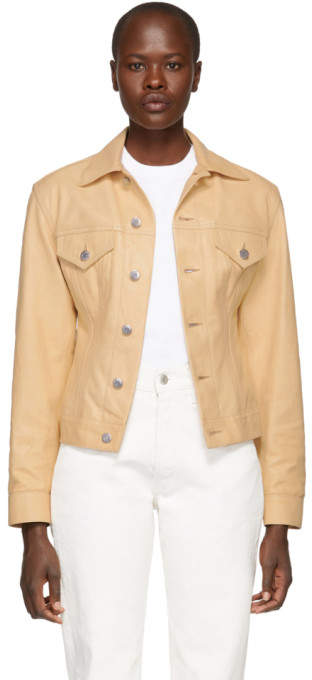 Helmut Lang Beige Leather Femme Trucker Jean Jacket