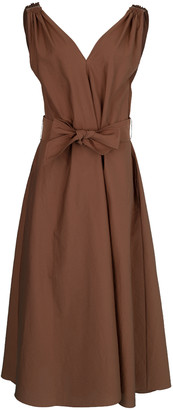 Brunello Cucinelli Cinnamon Monilli Shoulder Detail Belted Dress