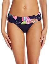 Anne Cole Women's Navy Paisley Print Foldover Mid Rise Bikini Bottom