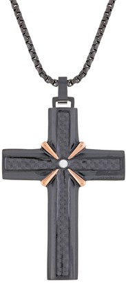 Lynx Men's Two-Tone Cubic Zirconia Cross Pendant Necklace
