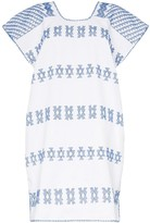 White And Blue Embroidered Kaftan Mini-Dress