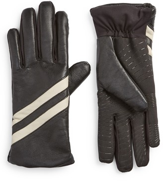U R Stripe Touchscreen Compatible Leather Gloves