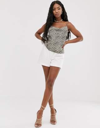 NA-KD Na Kd elastic waist linen shorts in off-white