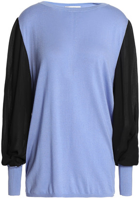 Amanda Wakeley Ray Crepe De Chine-paneled Silk, Wool And Cashmere-blend Sweater