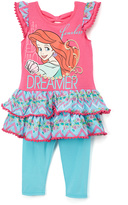 Children's Apparel Network Pink & Blue Ariel 'Dreamer' Ruffle-Hem Tunic & Leggings - Toddler