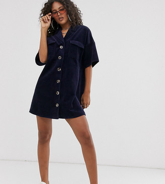 Asos Tall DESIGN Tall cord shirt dress in blue