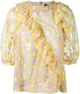 Simone Rocha floral embroidered blouse - women - Cotton/Nylon/Polyester - 10