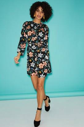 Little Mistress Black Floral-Print Shift Dress