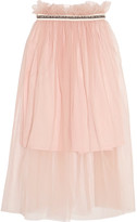 Mother of Pearl Ursula Embellished Tulle Midi Skirt - Pastel pink