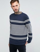 Farah Sweatshirt With Yarn Dyed Stripe In Slim Fit Navy