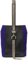 Lanvin Embellished Leather And Suede Wristlet Bag - Black
