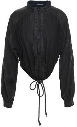 Ann Demeulemeester Jacquard-paneled Gathered Cotton Bomber Jacket