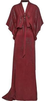 Roland Mouret Duval Pussy-bow Cutout Silk-blend Jacquard Gown