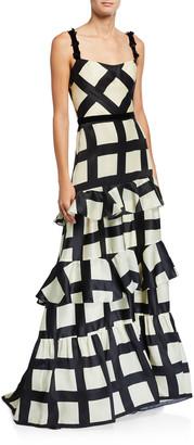 Johanna Ortiz Silk Route Check Organza Dress