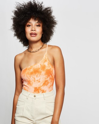 Reverse Women's Orange Off The Shoulder Tops - Ribbed Tie-Dye Bodysuit - Size XS at The Iconic
