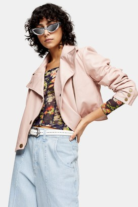 Topshop Womens Idol Pink Double Breasted Suede Jacket - Pink
