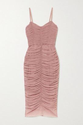 Dolce & Gabbana Ruched Tulle Midi Dress - Pink