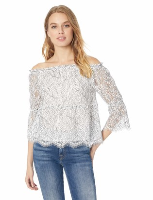 Cupcakes And Cashmere Women's Nichols Two Tone Lace Off The Shoulder Top
